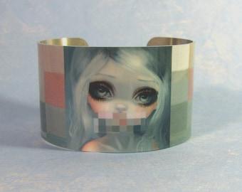 Smile metal cuff bracelet from Jasmine Becket-Griffith Art pixel censored fairy censorship