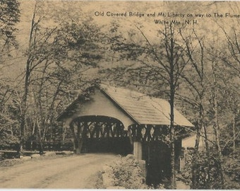 Old Covered Bridge and Mount Liberty on the way to The Flume Gorge White Mountains New Hampshire Black and White Photograph Vintage Postcard