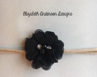 Black Embellished Nylon Headband
