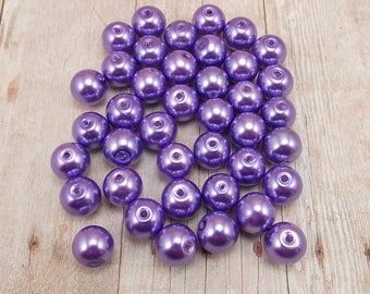 10mm Glass Pearls - Violet - 40 pieces - Medium Purple