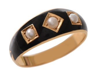 Antique Black Enamel 18 KT Gold and Pearl Ring