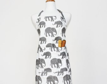 Grey Elephant Adult Apron - Kitchen Apron - Adult Cotton Apron with Elephants - Adult Organic Apron - GOTS Certified