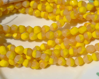 Yellow and Beige 8mm Nugget Beads   25