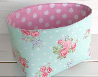 Shabby Chic Storage Basket Baby Girl Nursery Decor Home Decor Room Decor Baby Shower Gift Flowers Roses Mint Pink Floral