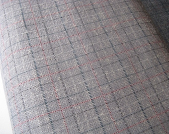 VINTAGE BLUE PLAID polyester knit fabric, measures 60 inches by 7.5 yards