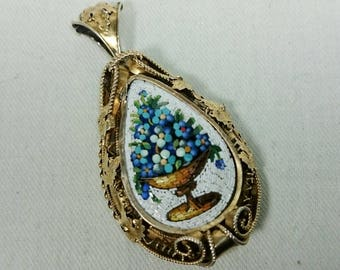 Ornate Antique Blue Flower & Vase Micro Mosaic Pendant, Italian Grand Tour Souvenir Jewelry