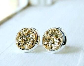 druzy stud earrings, post earrings, gold druzy studs, gift for her, under 10