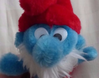 """Vintage, 1981, Papa Smurf, 7"""", Plush, Toy, Wallace Berrie & Co., The Smurfs, Stuffed Animal, Plushie, Free shipping"""