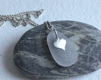 white frosted authentic Atlantic sea glass heart necklace, Valentines Day, heart necklace, seaglass necklace, beach wedding, bridal necklace