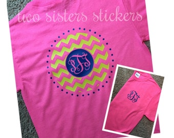 SHORT SLEEVE Chevron and Polka Dot Circle Monogrammed Shirt for Youth or Adult