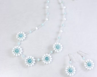 White flower necklace, elegant earrings, floral jewelry set, snow flower, gift for her, 375-2
