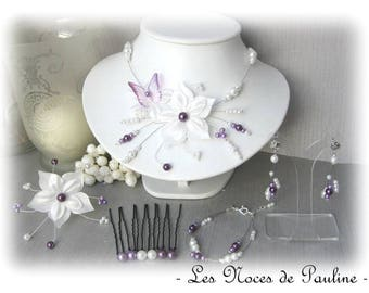 Purple and white satin wedding dress and Butterfly Katell 10 pieces