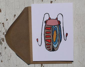 Bug No. 6 Greeting Card, Just Because, Thinking of You, Note Card, Blank Card with Envelope