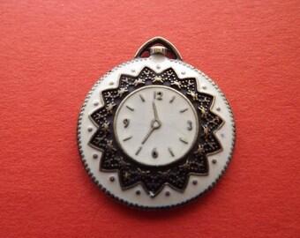 Retro clock in metal and enamel charm/pendant