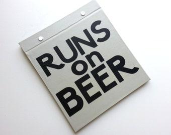 Race Bib Holder - Runs on Beer - Running Humor - Hand-bound Book for Running bibs - Light Gray and Black