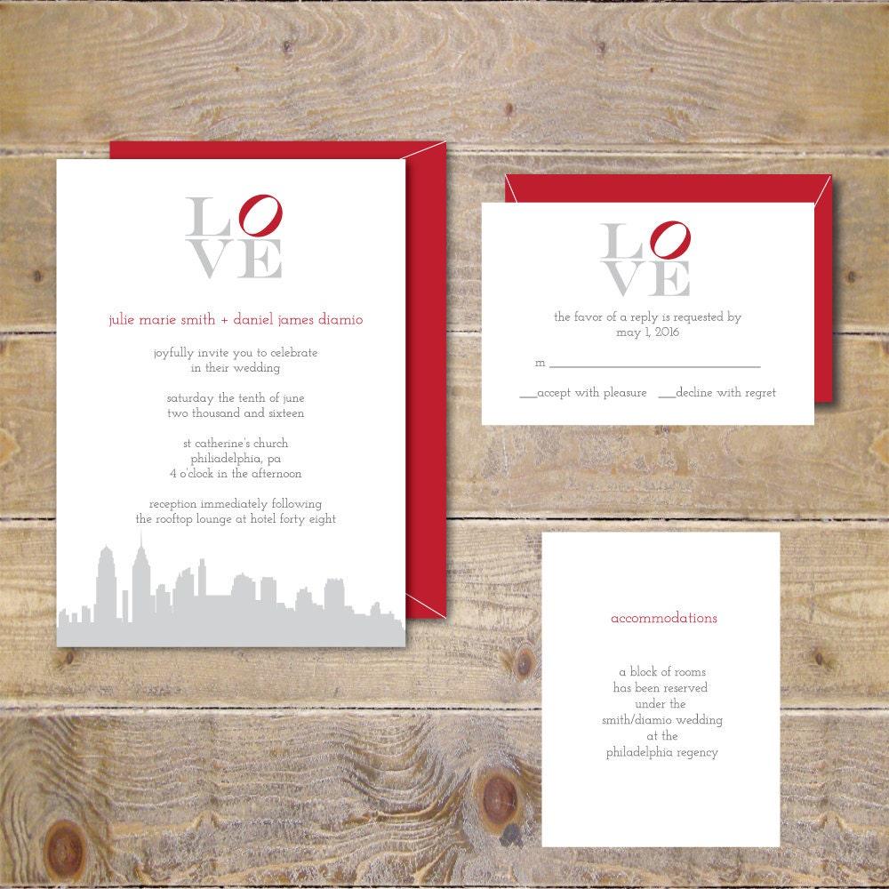 Philadelphia Love Park Philadelphia Love Wedding Invites