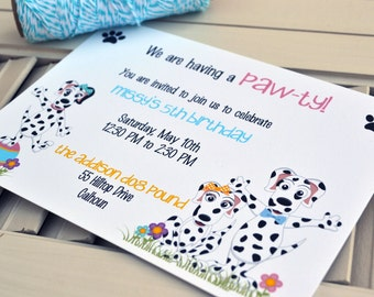 Dalmation Puppy Party Invitation / Personalized Puppy Dog Party Invite / Kids Birthday Party Invitation / Puppy Dog Dalmation Party Invite