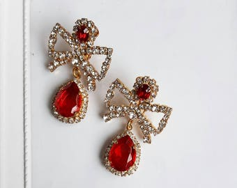 Valentine gift. Earring clips red bows with crystals