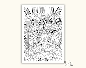 Adult Coloring Pages -  Printable Colouring Pages, Color in, PDF printable, Zentangle, Flowers, Mandala - Download only