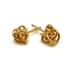 Medium Knot Gold Earring Studs - small, delicate, everyday earrings