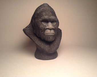 Bigfoot Sasquatch Sculpture bust realistic black