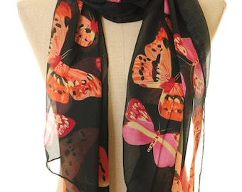 Butterfly Infinity Scarf / Butterfly Scarf / Chiffon Scarf / Black Scarf / Gift For Mom / Small Rectangle Scarf S-49