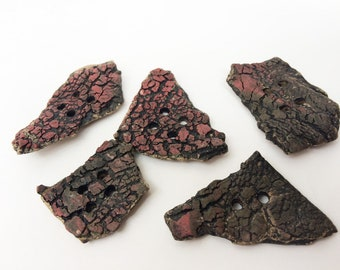 Five Large Rustic Buttons, Handmade Ceramic Clay Textured red Black Puzzle Pieces, Raw Crude Primitive Angular