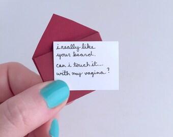 I Like Your Beard. Mini. Handmade. Greeting Card. Love.