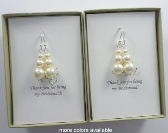 Pearl Earrings, Bridesmaid Gift Earrings, Pearl Wedding Earrings, Bridesmaid Earrings, Bridal Party Gift, Bridal Party Jewelry, Gift for Mom