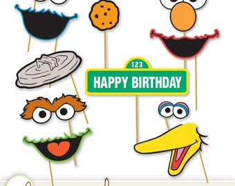 Printable Photo Booth Props - Elmo, Cookie Monster, Oscar the Grouch, Big Bird, Bert & Ernie+ INSTANT DOWNLOAD / DIY, Digital