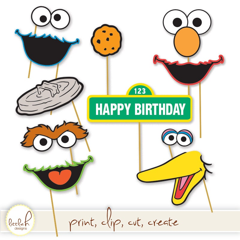 Printable Photo Booth Props Elmo Cookie Monster Oscar the