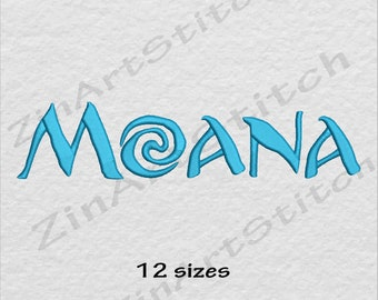 Moana Logo Embroidery Design Hawaii Princess Moana INSTANT DOWNLOAD 12 Sizes 8 Formats