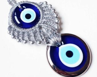 Attrayant Macrame Evil Eye Wall Hanging, Evil Eye Decor, Silver Evil Eye Charm,  Turkish