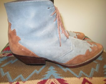 Vintage 80s  Womens Short SouthWestern Lace Up Ankle Boots Size 7 On Sale