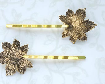 Antiqued Gold Maple Leaf Hairpins, Bobby Pins, Woodland, Fall, Nature Rustic Wedding Bridal Hair Clip Fall Canada