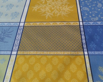 """New collection 2018.Rectangular tablecloth.Stain resistant and water proof.maximum width is 68"""".French fabric.Olives in blue and yellow"""