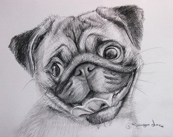 Custom Dog Pet Portrait Pencil