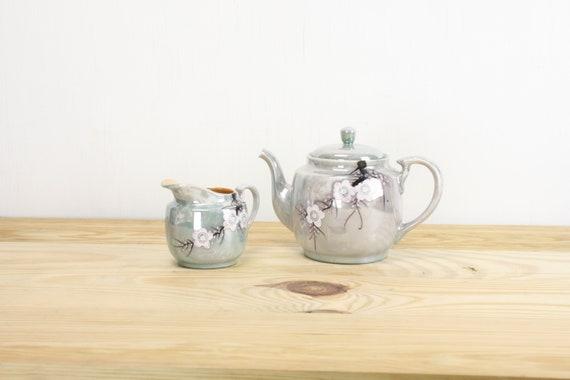 Fine Bone China - Tea Service - 2 pieces - 1960's - Matte By Summit - Brown / White - Teapot - Sugar - Creamer - Coffee - Vintage Set