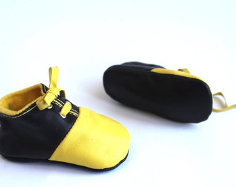 18-24 Months Slippers / Baby Shoes Lamb Leather Yellow and Black