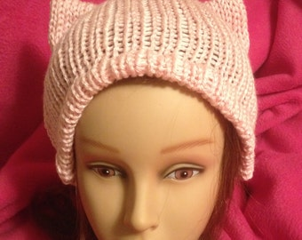 PussyHat Cat beanie Women's March Light Pink PUSSY HAT Kitty Ears Costume 3 Sizes - Free Shipping UsA and Charity Donation