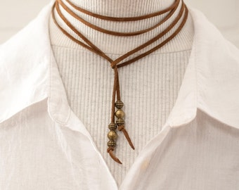 SALE, lariat, lariat necklace, leather lariat, brown leather, necklace, boho, leather choker, jewelry, stacylynnc, brown necklace, bolo