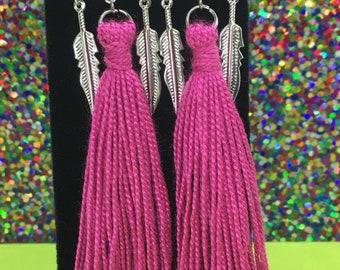 Wanderlust Earrings, Dreamcatcher Tassel Earrings, Pink Tass Earrings, Bohemian Earrings, Summer Earrings, Boho Jewelry, Boho Earrings