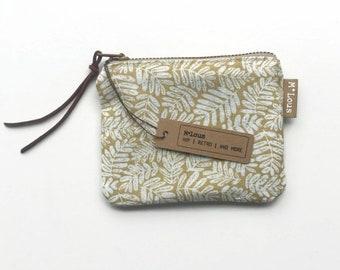 ochre zipper pouch coin pouch small wallet vegan boho zipper purse tiny wallet travel pouch retro purse vegan byMlous minimalist coin purse