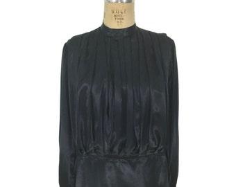 satin de SONIA RYKIEL vintage des années 1980 chemisier / black / plissé chemisier / blouson chemisier / blouse vintage femmes / tag taille 40