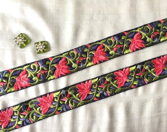 Spring Flowers Indian Embroidery Trim,Handmade Coral Green Lily Black Parsi Lace,Persian Sari Border Pantone Greenery,4cm W Price/meter