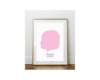 11 x 14 Child Silhouette // Custom Child Portrait // Child Portrait Silhouette // Custom // 11 x 14 Print // Keepsake // Personalized Print