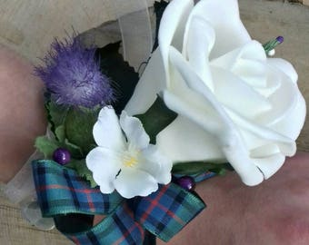 Scottish thistle heather & rose wrist corsage with Flower of Scotland tartan ribbon, hand made in Scotland