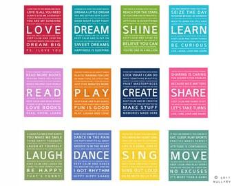 FULL SET OF 12 Typography art prints baby nursery art prints. Kids Wall Art. Inspiration quote prints. Kids art by Wallfry