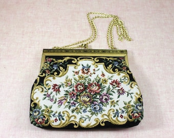 Vintage Evening Handbag / Tapestry-style Purse / Clutch / faux tapestry