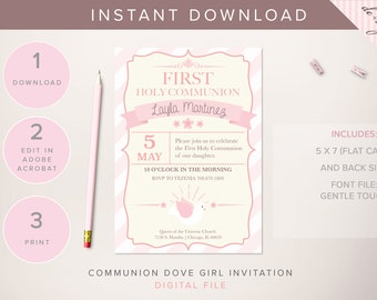 DIGITAL Communion Dove Invitation - INSTANT DOWNLOAD